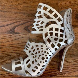 BCBG Maven High-Heel Laser-Cut Sandal